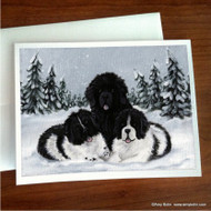 NOTE CARDS · WINTER BUDDIES 2 · BLACK & LANDSEER NEWFOUNDLAND · AMY BOLIN