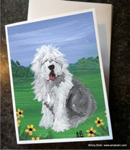 NOTE CARDS · SUMMER · OLD ENGLISH SHEEPDOG · AMY BOLIN
