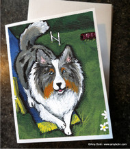 NOTE CARDS · AGILITY KING · BLUE MERLE SHELTIE · AMY BOLIN