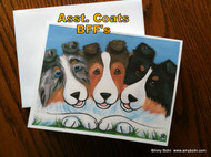 NOTE CARDS · BFF'S · BLUE MERLE, SABLE, TRI COLOR SHELTIE · AMY BOLIN
