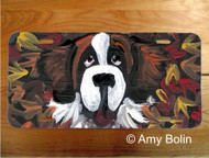 LICENSE PLATE · HAPPINESS IS A PILE OF LEAVES ·  SAINT BERNARD · AMY BOLIN