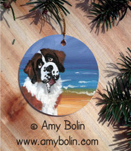 CERAMIC ORNAMENT · A DAY AT THE BEACH · SAINT BERNARD · AMY BOLIN