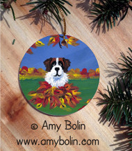 CERAMIC ORNAMENT · AUTUMN'S SIMPLE PLEASURES · SAINT BERNARD · AMY BOLIN