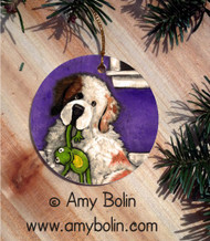 CERAMIC ORNAMENT · BEDTIME BUDDIES · HALF MASK SAINT BERNARD · AMY BOLIN