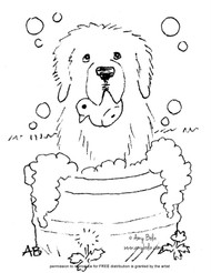 "FREE COLORING SHEET DOWNLOAD · ""Bath Time"" · NEWFOUNDLAND · AMY BOLIN"