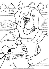"FREE COLORING SHEET DOWNLOAD · ""Sadie's Sweet Shop"" · SAINT BERNARD · AMY BOLIN"