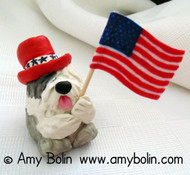 """Love of Country"" Old English Sheepdog · PUDGIE · 2 Inch Mini Sculpture by Amy Bolin One Of A Kind!"