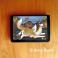 TRIFOLD WALLET · A PERFECT FALL DAY  · SABLE  SHELTIE · AMY BOLIN
