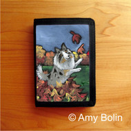 TRIFOLD WALLET · CHASING LEAVES · BLUE MERLE  SHELTIE · AMY BOLIN