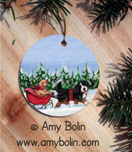 CERAMIC ORNAMENT · A WINTRY RIDE · BERNESE MOUNTAIN DOG & GOLDEN RETRIEVER · AMY BOLIN