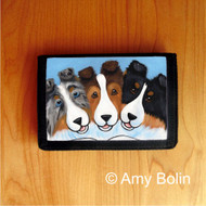 TRIFOLD WALLET · BFF'S  · BLUE MERLE, SABLE, TRI COLR  SHELTIE  · AMY BOLIN
