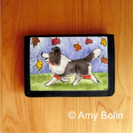 TRIFOLD WALLET · CHASING LEAVES  · TRI COLOR   SHELTIE  · AMY BOLIN