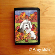 TRIFOLD WALLET · LEAF ROMP   · OLD ENGLISH SHEEPDOG    · AMY BOLIN
