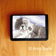 TRIFOLD WALLET · LITTLE KISS   · OLD ENGLISH SHEEPDOG    · AMY BOLIN