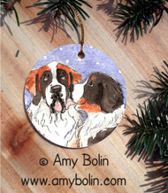 CERAMIC ORNAMENT · LITTLE KISS · BERNESE MOUNTAIN DOG, SAINT BERNARD · AMY BOLIN