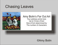 ADDRESS LABELS · CHASING LEAVES · NORWEGIAN ELKHOUND · AMY BOLIN