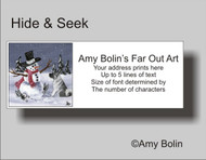 ADDRESS LABELS · HIDE AND SEEK · NORWEGIAN ELKHOUND · AMY BOLIN