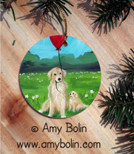 CERAMIC ORNAMENT · A GOLDEN AFTERNOON · GOLDEN RETRIEVER · AMY BOLIN