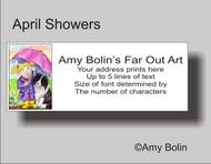 ADDRESS LABELS · APRIL'S SHOWERS · BI BLACK SHELTIE · AMY BOLIN