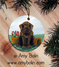 CERAMIC ORNAMENT · A LITTLE VISITOR · BROWN NEWFOUNDLAND · AMY BOLIN