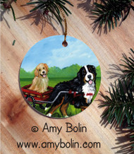 CERAMIC ORNAMENT · TRAVELING BUDDIES · BERNESE MOUNTAIN DOG & GOLDEN RETRIEVER · AMY BOLIN