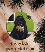 CERAMIC ORNAMENT · BEDTIME BUDDIES · IRISH SPOTTED NEWFOUNDLAND · AMY BOLIN