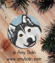 CERAMIC ORNAMENT · THAT MAL SMILE   ·  ALASKAN MALAMUTE · AMY BOLIN