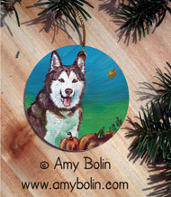 CERAMIC ORNAMENT · AUTUMN   · SIBERIAN HUSKY · AMY BOLIN