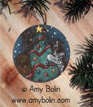 CERAMIC ORNAMENT · CHRISTMAS TOGETHER · BLACK, BROWN, LANDSEER NEWFOUNDLAND · AMY BOLIN