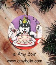 CERAMIC ORNAMENT · HAPPY BIRTHDAY TO YOU BROWN EYES  · SIBERIAN HUSKY · AMY BOLIN