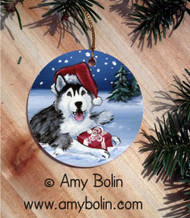CERAMIC ORNAMENT · MERRY CHRISTMAS BROWN EYES  · SIBERIAN HUSKY · AMY BOLIN