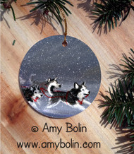 CERAMIC ORNAMENT · MUSH BLUE  EYES  · SIBERIAN HUSKY · AMY BOLIN