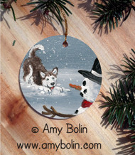 CERAMIC ORNAMENT · MY SNOWY FRIEND BLUE EYES RED  · SIBERIAN HUSKY · AMY BOLIN