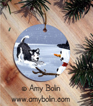 CERAMIC ORNAMENT · MY SNOWY FRIEND BROWN EYES   · SIBERIAN HUSKY · AMY BOLIN