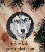 CERAMIC ORNAMENT · RIVA'S SNOW DAY BLUE EYES   · SIBERIAN HUSKY · AMY BOLIN