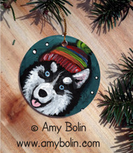 CERAMIC ORNAMENT · SNOWY WEATHER BLUE EYES   · SIBERIAN HUSKY · AMY BOLIN