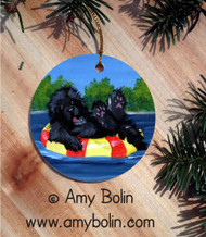 CERAMIC ORNAMENT · DOG DAYS · BLACK NEWFOUNDLAND · AMY BOLIN