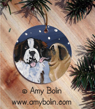 CERAMIC ORNAMENT · LITTLE KISS · MASTIFF, SAINT BERNARD · AMY BOLIN