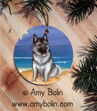 CERAMIC ORNAMENT · BEACH BUM · NORWEGIAN ELKHOUND · AMY BOLIN