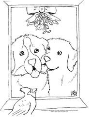 "FREE COLORING SHEET DOWNLOAD · ""Under The Mistletoe"" · BERNESE MOUNTAIN DOG & GOLDEN RETRIEVER · AMY BOLIN"