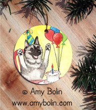CERAMIC ORNAMENT · IT'S MY PARTY · NORWEGIAN ELKHOUND · AMY BOLIN