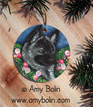 CERAMIC ORNAMENT · MOM'S FAVORITE FLOWER · NORWEGIAN ELKHOUND · AMY BOLIN