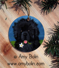 CERAMIC ORNAMENT · A FLOWER FOR MOM· BLACK NEWFOUNDLAND · AMY BOLIN