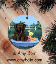 CERAMIC ORNAMENT · BATHING BEAUTIES · BROWN  NEWFOUNDLAND · AMY BOLIN