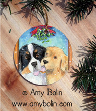 CERAMIC ORNAMENT · UNDER THE MISTLETOE · BERNESE MOUNTAIN DOG & GOLDEN RETRIEVER · AMY BOLIN