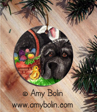 CERAMIC ORNAMENT · EASTER NEWF  ·   BLACK NEWFOUNDLAND · AMY BOLIN