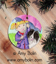 CERAMIC ORNAMENT · APRIL'S SHOWERS · BI BLACK SHELTIE · AMY BOLIN
