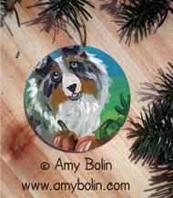 CERAMIC ORNAMENT · AUTUMN BLUE · BLUE MERLE SHELTIE · AMY BOLIN