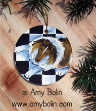 CERAMIC ORNAMENT · IN THE KITCHEN WITH MOM · SABLE SHELTIE · AMY BOLIN