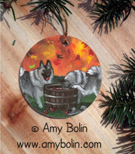 CERAMIC ORNAMENT · BOBBING FOR APPLES · NORWEGIAN ELKHOUND · AMY BOLIN